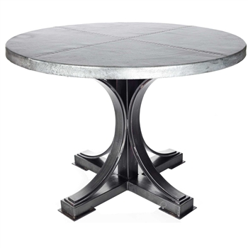 "Pictured here is the Winston Dining Table with Wrought iron base and 54"" Round Hammered Zinc Table Top"