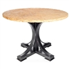 "Pictured here is the Winston Dining Table with Wrought iron base and 54"" Round Marble Table Top"