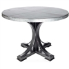 "Pictured here is the Winston Dining Table with Wrought iron base and 72"" Round Hammered Zinc Table Top"