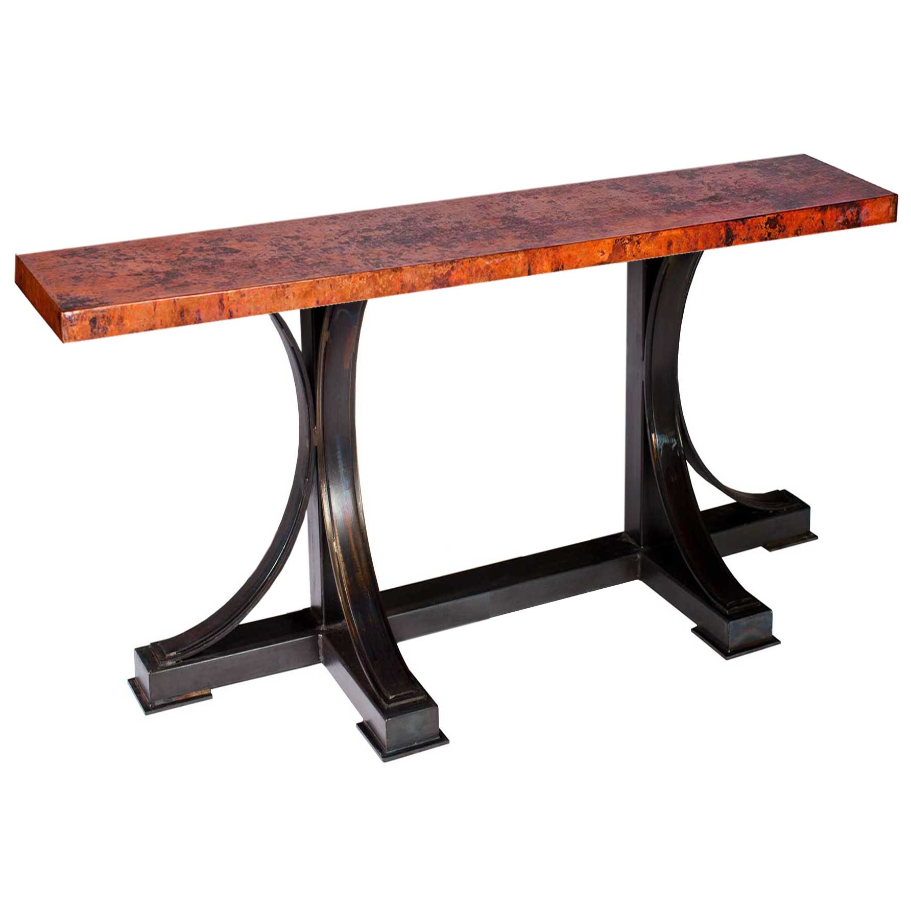 Winston Iron Console Table with Rectangle Hammered Copper Top