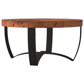 Pictured is the Round Strap Coffee Table Base available in 3 finish options and supports a 36 inch round table top of your choice.