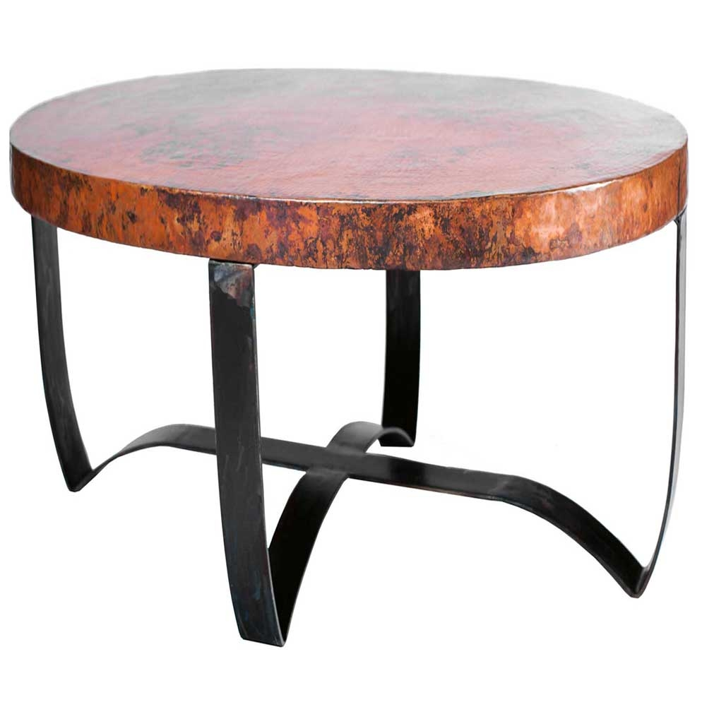Round Strap Coffee Table With Wrought Iron Base And Hammered Copper Larger Photo