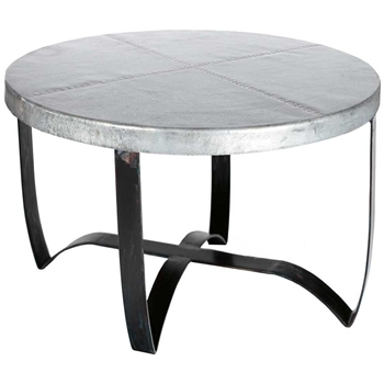 Pictured here is the Round Strap Coffee Table with Wrought iron base and Hammered Zinc Table Top