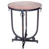 Pictured here is the Mid Century Accent Table with Wrought iron base and Hardware Rings and Hammered Copper Table Top