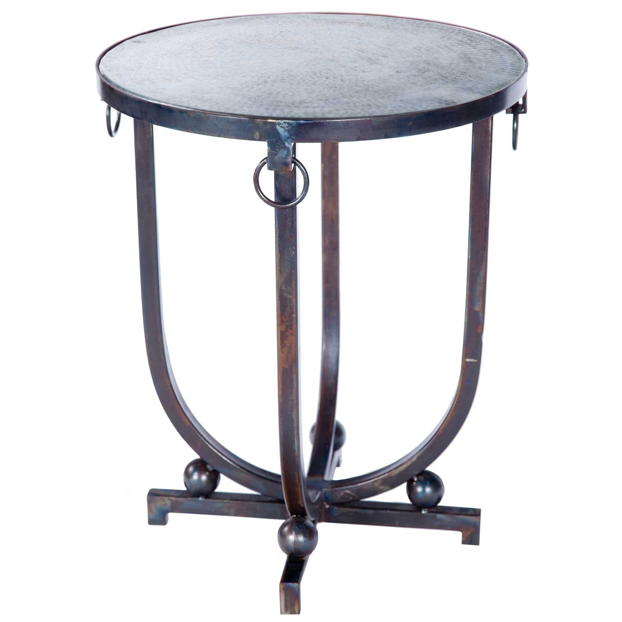 - Mid Century Iron Accent Table With Hammered Zinc Top