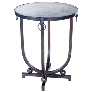 Pictured here is the Mid Century Accent Table with Wrought iron base and Hammered Zinc Table Top