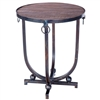 Pictured here is the Mid Century Accent Table with Wrought iron base and Hardware Rings and Reclaimed Wood Table Top
