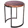 Pictured here is the Upper Avenue End Table with wrought iron base and Hammered Copper Table Top