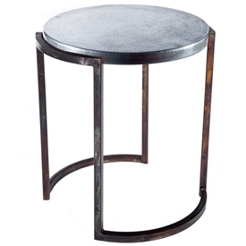 Pictured here is the Upper Avenue End Table with Wrought iron base and Hammered Zinc Table Top