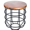 Pictured here is the Axel Side Table with Wrought iron base and Round Hammered Copper Table Top