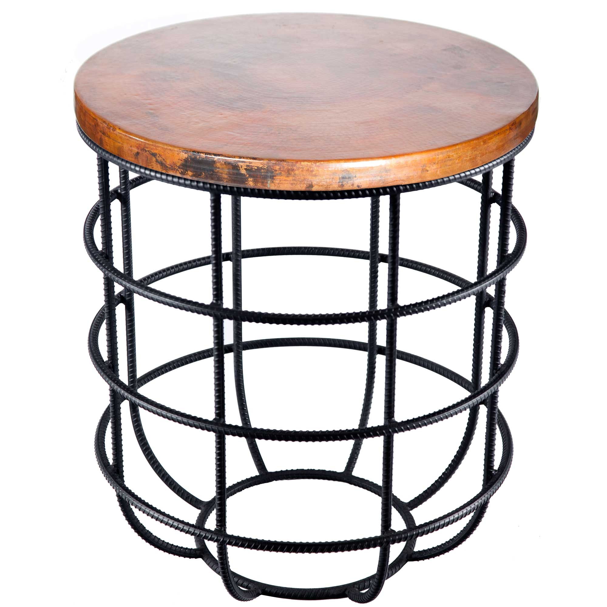 Side Table With Wrought Iron Base And Round Hammered Copper Larger Photo