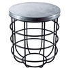 Pictured here is the Axel Side Table with Wrought iron base and Round Hammered Zinc Table Top