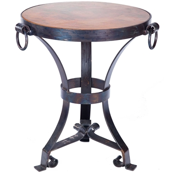 Pictured here is the Rutland Accent Table Hammered Copper Table Topwith Wrought iron base and