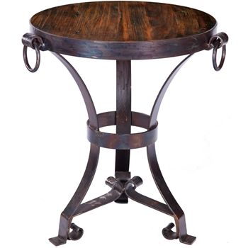 Pictured here is the Rutland Accent Table Reclaimed Table Topwith Wrought iron base and