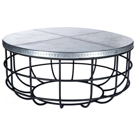 Pictured is the Axel Coffee Table in Rebar Base available in 3 finish options and supports a 40 inch round table top of your choice.