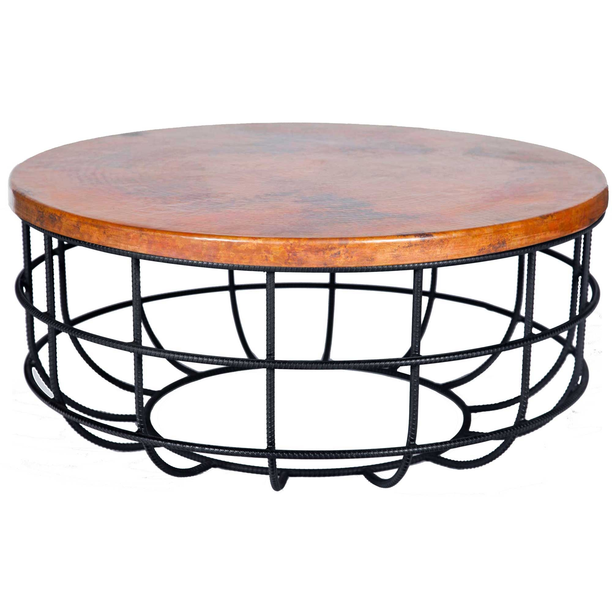 Coffee Table With Wrought Iron Base And Round Hammered Copper Larger Photo