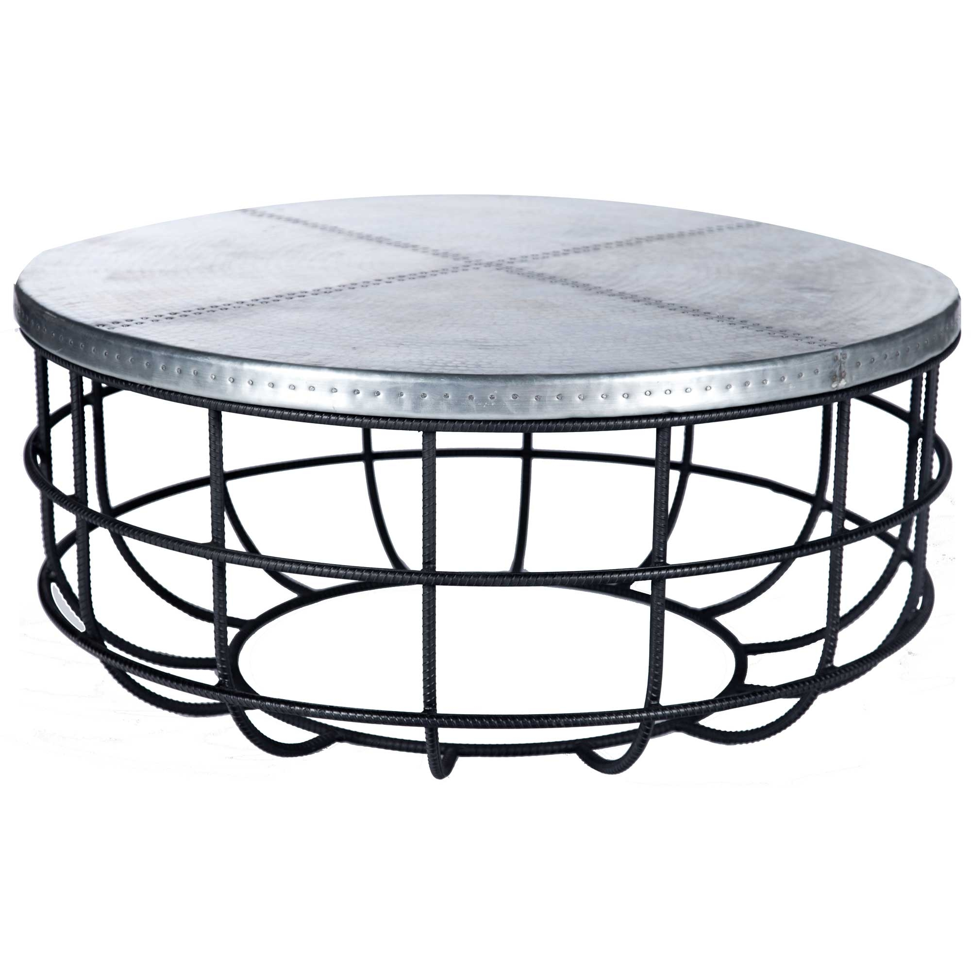 - Axel Iron Coffee Table With Round Hammered Zinc Top