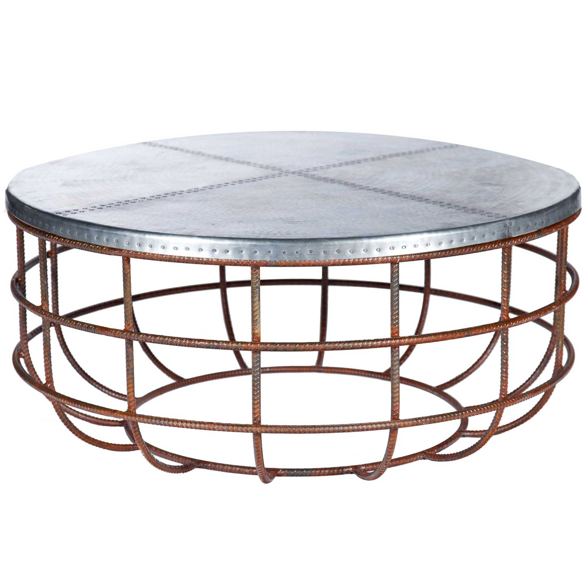 Swell Axel Iron Coffee Table With Round Hammered Zinc Top Gamerscity Chair Design For Home Gamerscityorg