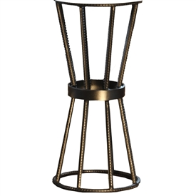 Pictured is the Axel Accent Table in Rebar Base available in 3 finish options and supports a 12 inch round table top of your choice.