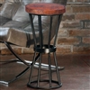 Pictured here is the Axel Accent Table with Wrought iron base and Round Hammered Copper Table Top