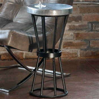 Pictured here is the Axel Accent Table with Wrought iron base and Round Hammered Zinc Table Top