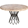 "Pictured here is the Infinity Dining Table with Wrought iron base and 48"" Round Marble Table Top"