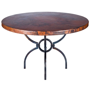 "Pictured here is the Logan Dining Table with Wrought iron base and 48"" Round Hammered Copper Table Top"