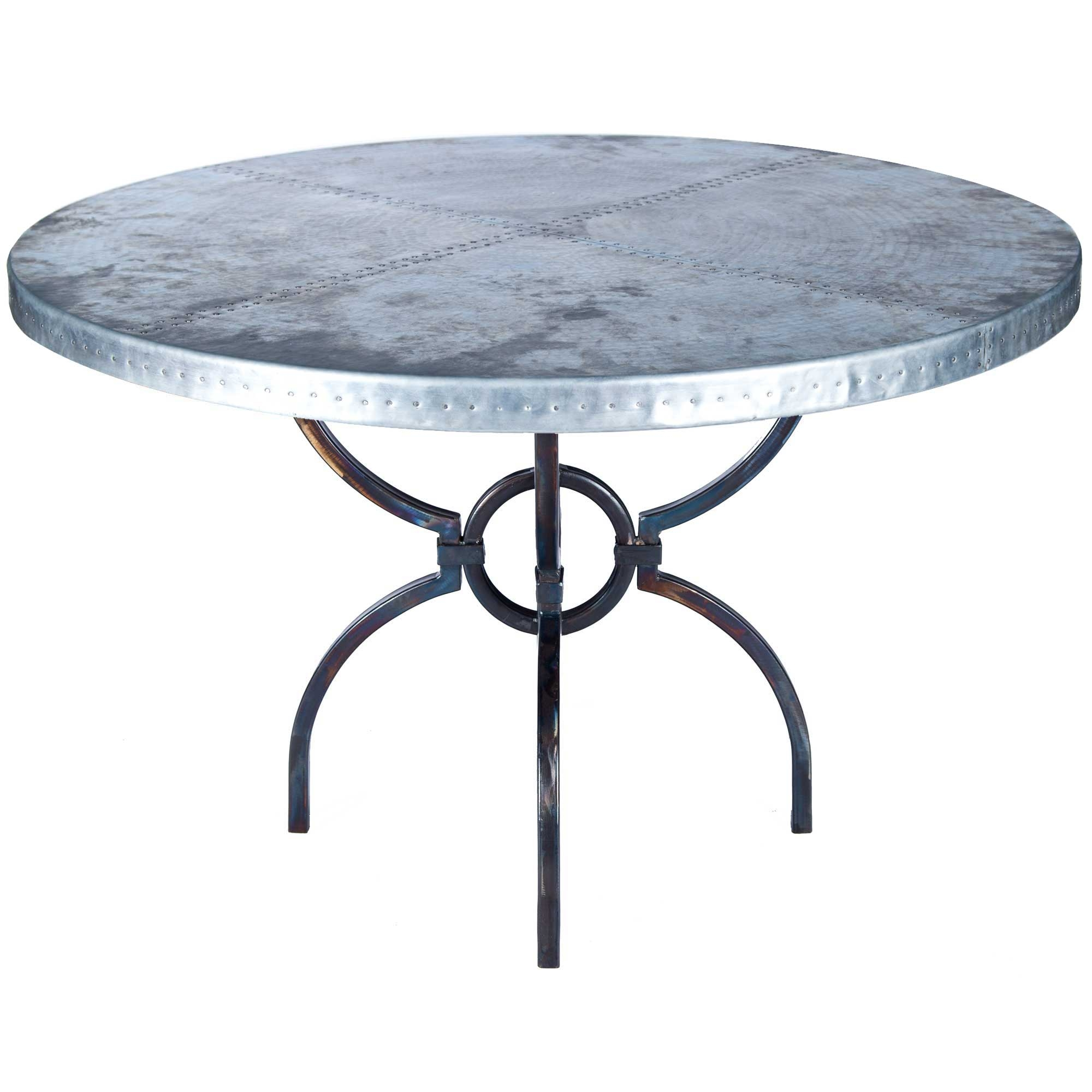 Logan Iron Dining Table with 48 Round Hammered Zinc Top
