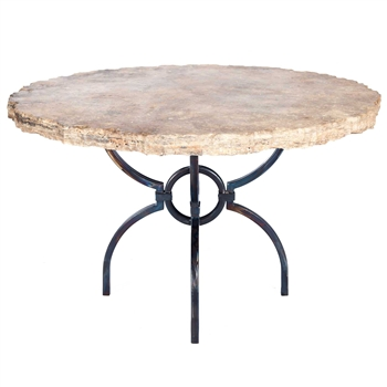 "Pictured here is the Logan Dining Table with Wrought iron base and 48"" Round Marble Table Top"