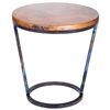 Pictured here is the Ayres Accent Table with Wrought iron base and Hammered Copper Table Top