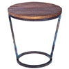 Pictured here is the Ayres Accent Table with Wrought iron base and Reclaimed Wood Table Top