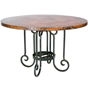 "Pictured here is the Curled Leg Round Dining Table with Wrought iron base and 54"" Round Hammered Copper Table Top"