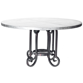 "Pictured here is the Curled Leg Round Dining Table with Wrought iron base and 54"" Round Hammered Zinc Table Top"