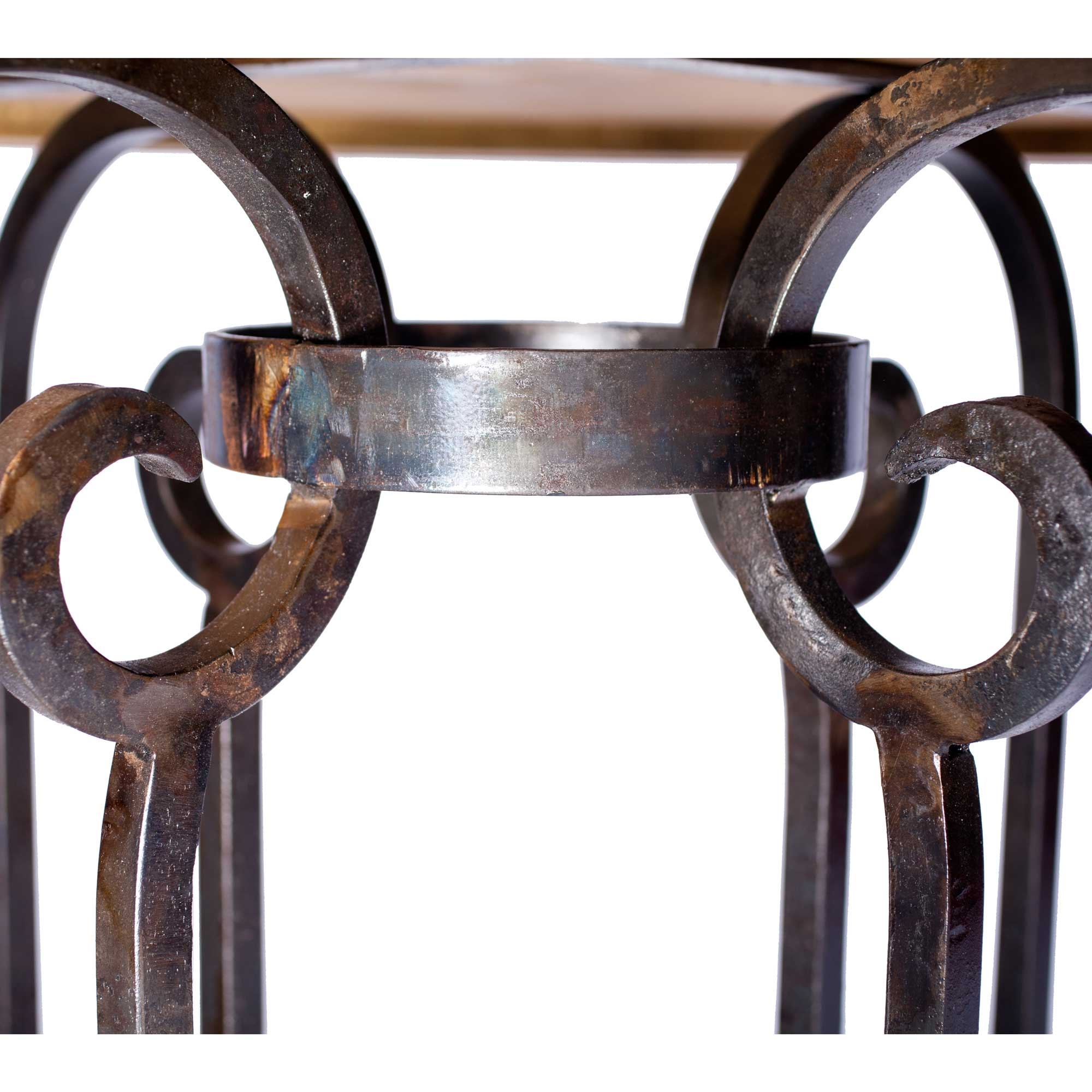 "Curled Leg Iron Dining Table with 54"" Round Hammered Zinc Top"