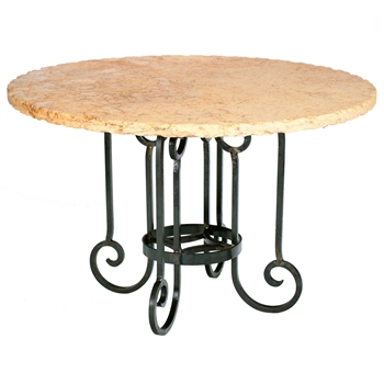 "Pictured here is the Curled Leg Round Dining Table with Wrought iron base and 54"" Round Marble Table Top"