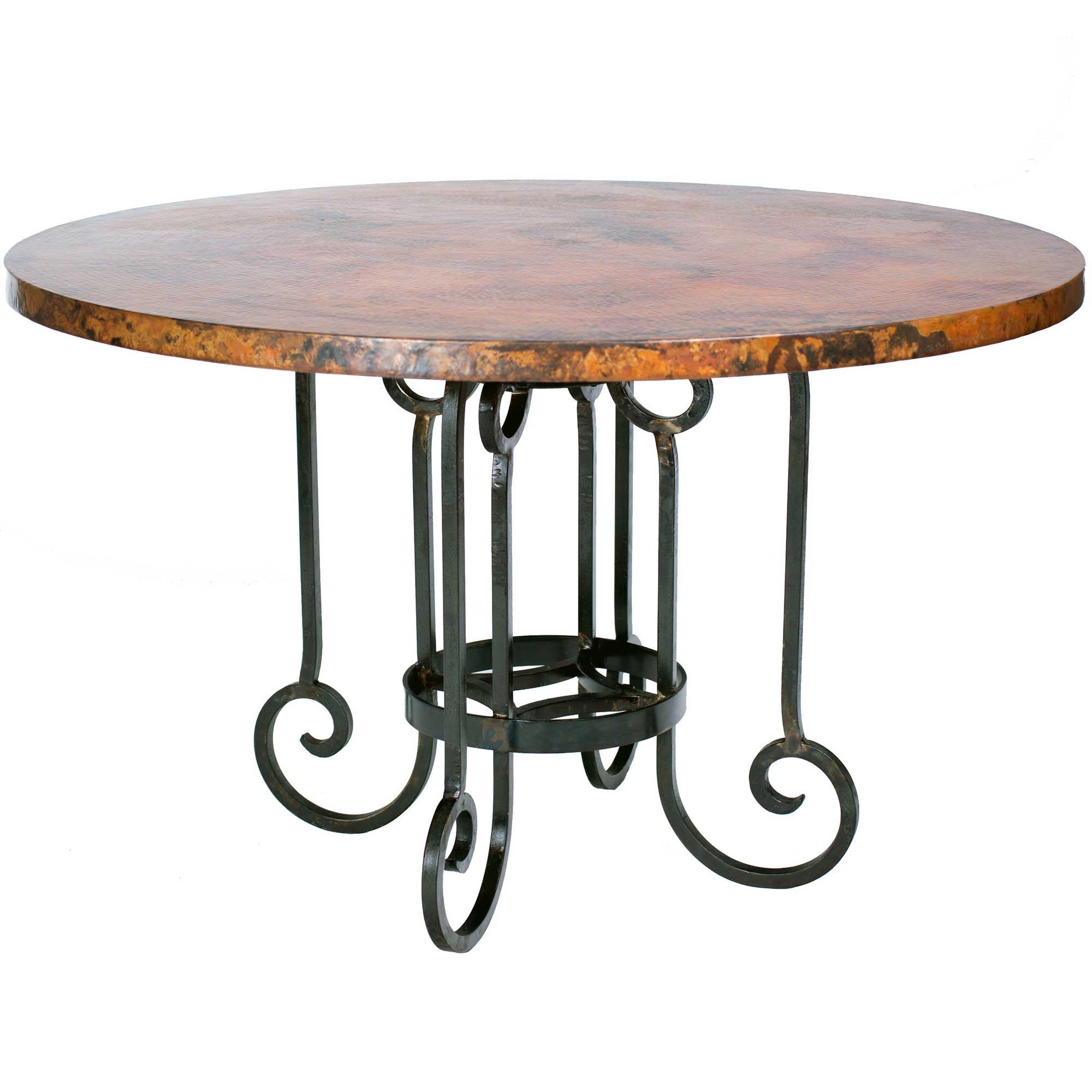 Curled Leg Iron Dining Table With Round Hammered Copper Top - Hammered copper round dining table