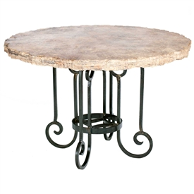 "Pictured here is the Curled Leg Round Dining Table with Wrought iron base and 60"" Round Marble Table Top"