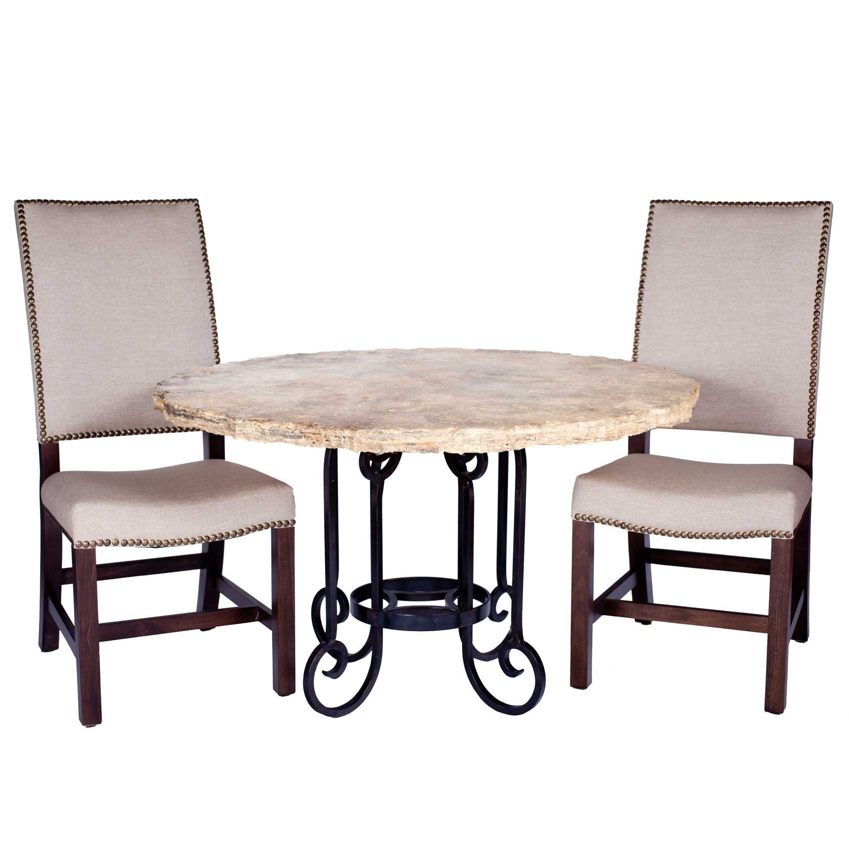 """Curled Leg Iron Dining Table with 60"""" Round Marble Top"""