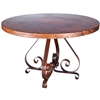 "Pictured here is the Pierre Dining Table with Wrought iron base and 54"" Round Hammered Copper Table Top"