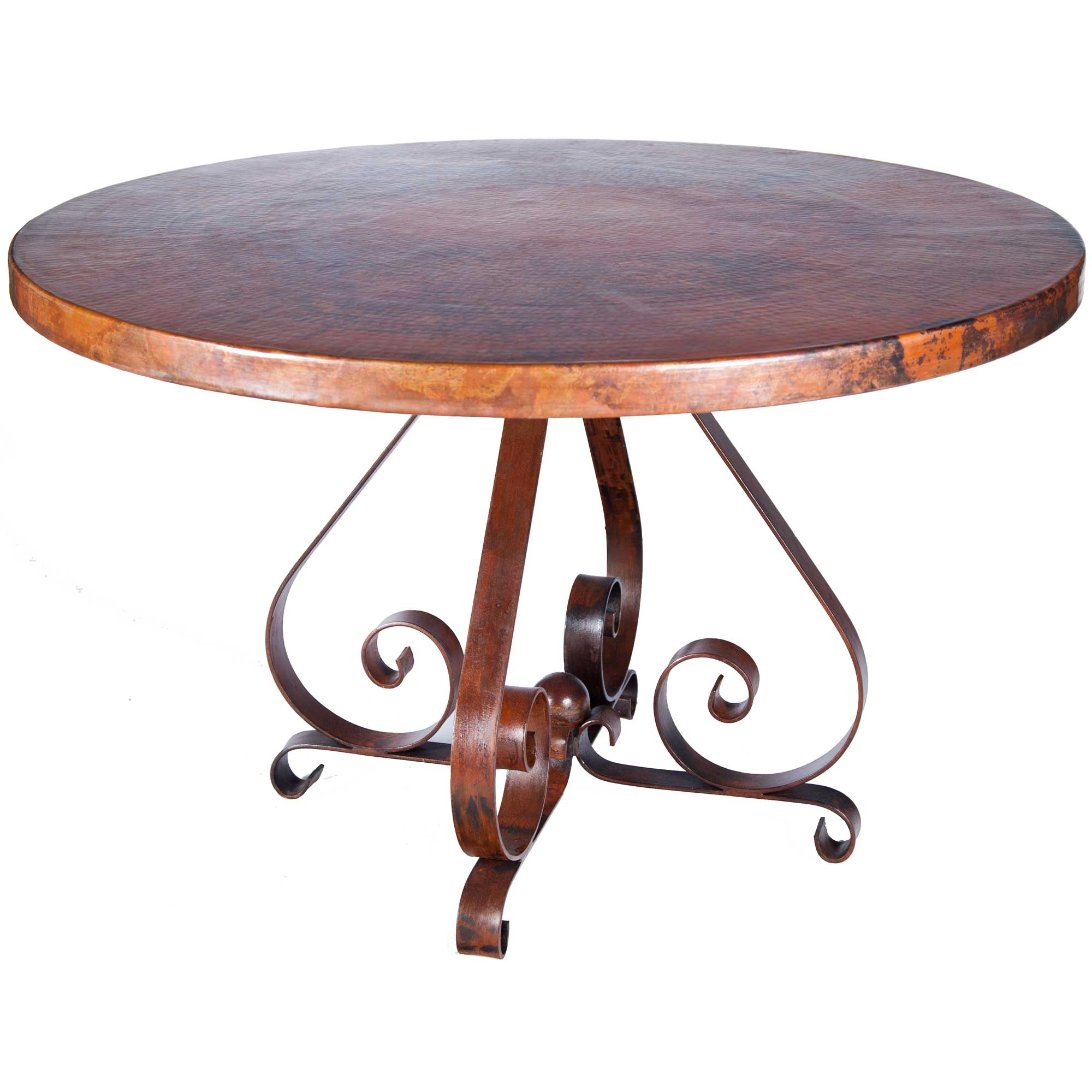 Pictured Here Is The Pierre Dining Table With Wrought Iron Base And 54 Round Hammered
