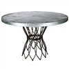 "Pictured here is the Infinity Dining Table with Wrought iron base and 54"" Round Hammered Zinc Table Top"