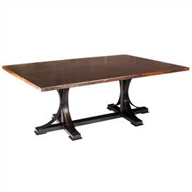 Pictured here is the Winston Dining Table with Wrought iron base and Rectangle Hammered Copper Table Top