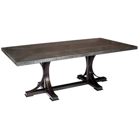 Pictured here is the Winston Dining Table with Wrought iron base and Rectangle Hammered Zinc Table Top
