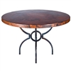 "Pictured here is the Logan Dining Table with Wrought iron base and 54"" Round Hammered Copper Table Top"
