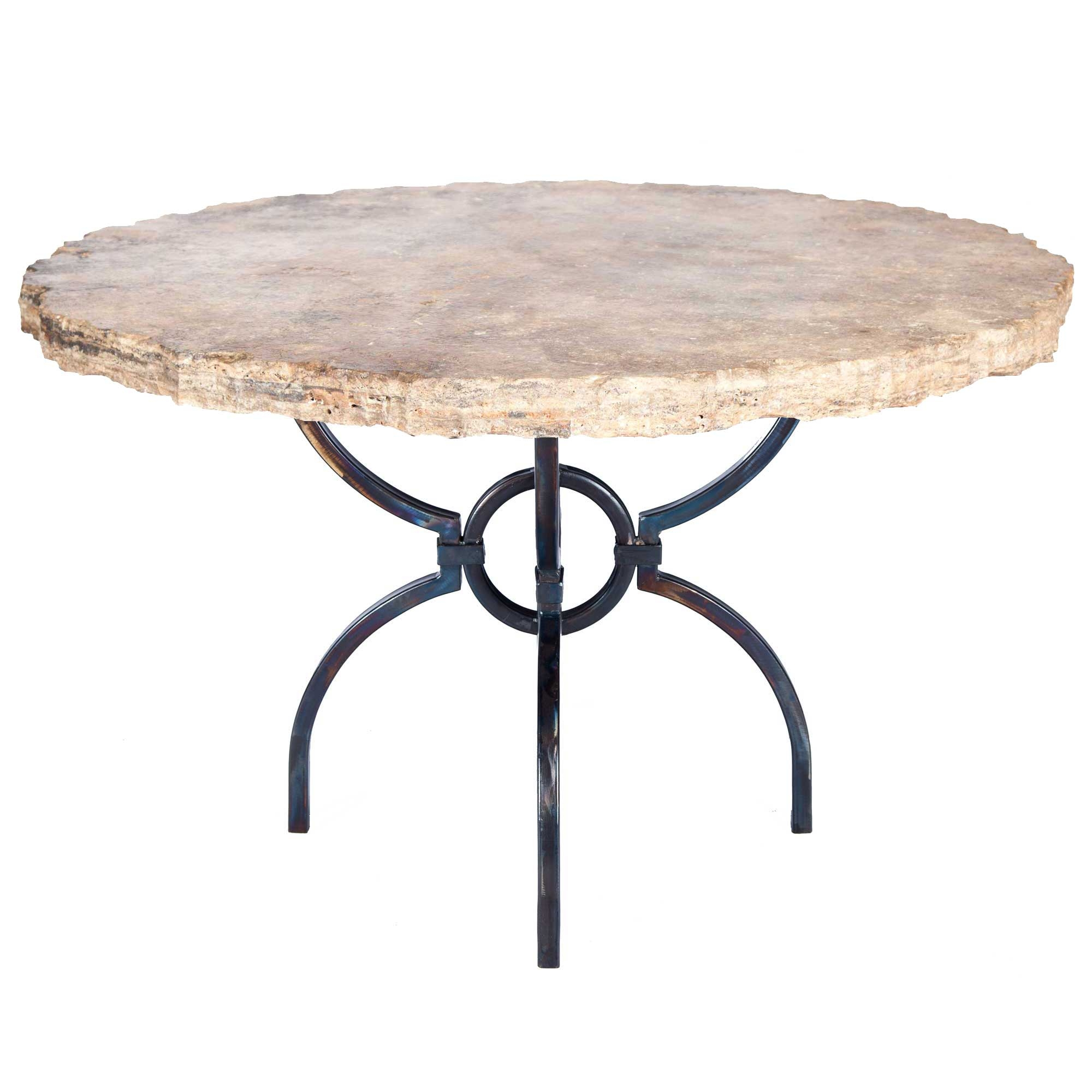 logan iron dining table with 54 round marble top. Black Bedroom Furniture Sets. Home Design Ideas