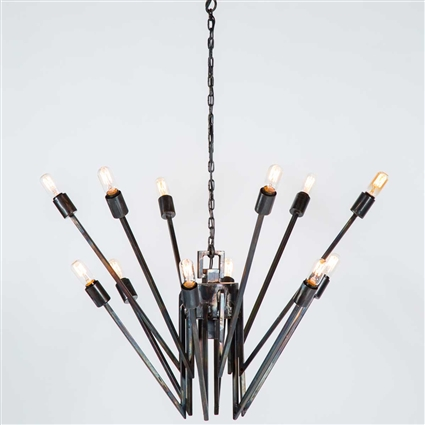 Pictured here is the Franklin Chandelier with a rustic fire finish at Timeless Wrought Iron.