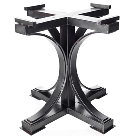 Pictured is the Winston Dining Table Base available in 3 finish options and 3 base size options to fit your entertainment needs.
