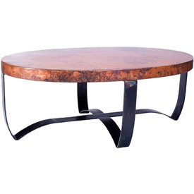 Pictured is the Oval Strap Cocktail Table Base available in 3 finish options and supports a 48 inch by 30 inch table top of your choice.