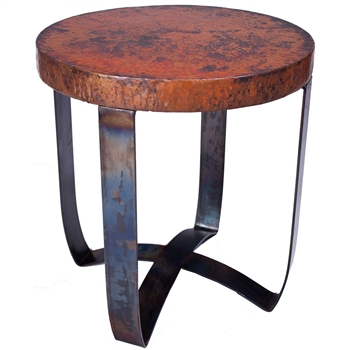 Pictured is the Round Strap End Table Base available in 3 finish options and supports a 24 inch round table top of your choice.
