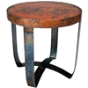 Pictured here is the Round Strap End Table with Wrought iron base and Hammered Copper Table Top